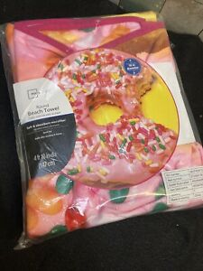 "HUGE CONFETTI DONUT BEACH/ BATH TOWEL ! ROUND! BRAND NEW! 58"" DIAMETER!"