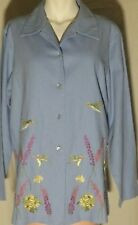 Vntg ARIEL Linen/Rayon Baby Blue Blouse Long Sleeve w/ Embroidery Sz M