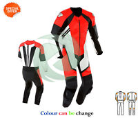 Super bike racing suit red and white leather racing suit with speed hump bargain