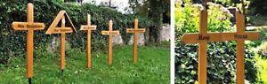 Grabkreuz aus Holz mit Beschriftung, Tierkreuz, Unfallkreuz,