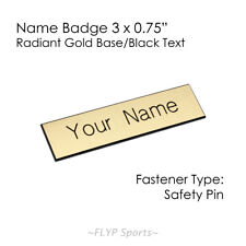 """Name Badge Tag Plate Radiant Gold/Black Safety Pin 3x0.75"""" Personalised Engra..."""