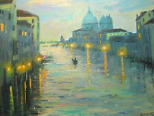 "Listed American Artist Nino Pippa Painting of Venice - Twilight 16"" X 20"""