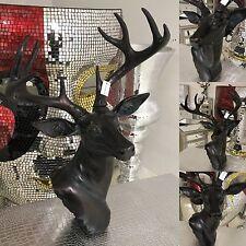Large Stag Deer Head Sculpture Wall / Floor Standing Statue dark bronze effect