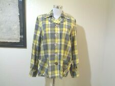 Vintage Hand Made Yellow/Gray Plaid Wool Buttoned Pocketed Hipster Shirt/Jacket
