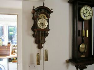 DUTCH WALL CLOCK, 8 DAY MOONPHASE, CHAIN AND WEIGHTS DRIVEN