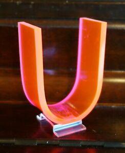 "Vintage Mid Century 1950's Retro Neon Orange Pink Fiber Optic Letter U - 3"""