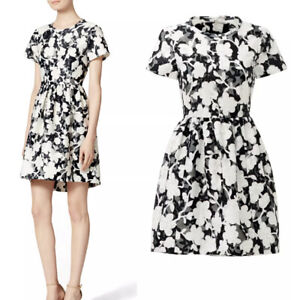 KATE SPADE Chesire Dress Floral Fit & Flare 12 Black & White Jacquard w/ Pockets