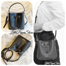 KATE SPADE LEATHER EVA SMALL BUCKET CROSSBODY BAG IN BLACK/WARM BEIGE