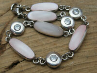 Sterling silver Pink Mother of Pearl and CZ Link Bracelet