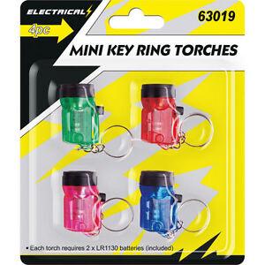 4 x Mini Key Ring Torch Lamp