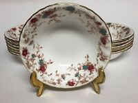 """Minton Ancestral S376 Coupe Cereal Bowl 6.5"""" Wreath Backstamp Bone China England"""