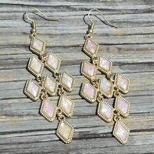 Diamond Shaped Drop Dangle Earrings Gold Tone Linked Iridescent Rhinestones Hook