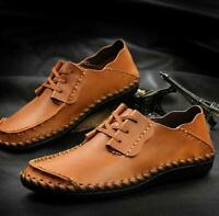 Men's Lace up Moccasins Leather Driving Boat Loafer Slip on Sneaker Shoes 040201