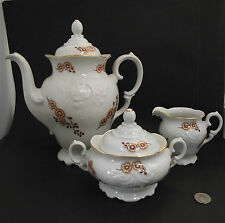VINTAGE WAWEL CHINA TEA OR COFFEE  POT CREAM AN SUGAR MADE IN POLAND WAV99