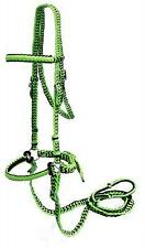 LIME GREEN/BLACK Braided Nylon Bit Less Bridle with Reins! NEW HORSE TACK!