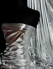 Silver Wet Look Stretch Lycra Fabric NG253a SLV