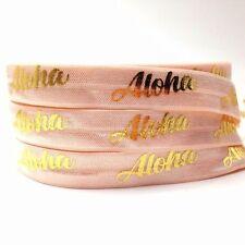 10 Yards Gold Foil 'Aloha' Foe Fold Over Elastic Ribbon, Hawaiian Luau Party