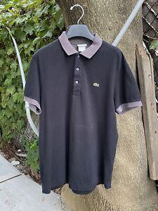 Lacoste Mens Black Polo Size 4 crocodile Cotton