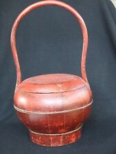 Antique Chinese Red Lacquer Basket Food Container