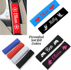 Personalise Kids Car Seat Belt Cover Pads Car Cushioned Covers Strap Adults