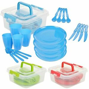 Large Plastic Picnic Set Camping Party Dinner Plate Set Mug & Cutlery 21 Pieces