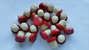Plastic Wine Bottle Corks / Stoppers Red - Pack Of 24 (Flanged)