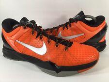 Nike Zoom Kobe 7 Orange Blaze Metallic Silver Black Mens Size 11 Rare 517359-800