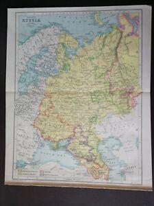 JOHN BARTHOLOMEW VINTAGE MAP-EUROPEAN RUSSIA- PUBL.W&R CHAMBERS LTD.-1924/1926