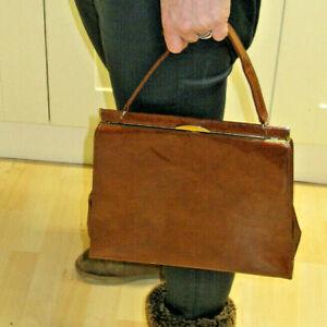 Vintage retro St Michael M&S Marks Spencer shiny patent brown handbag hand bag