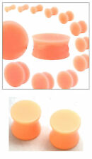 2 PAIR of Skin Color Plugs Silicone Acrylic Hiding Retainer Ear Gauges 6g-1 inch