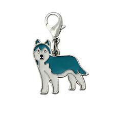 Siberian Husky Anhänger für Kette, Schlüsselbund, Armband Silber Emaille