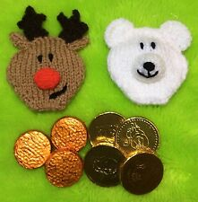 KNITTING PATTERN - Christmas Reindeer and Polar Bear Coin / Chocolate gift bags