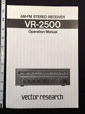 Vector Research VR-2500 Stereo Receiver Original Owners Manual 8 Pages & Color