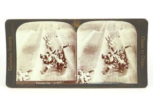 """Canadian Scenery Stereoview """"Tobogganing–'A Spill'."""" Nerlich & Co ©1905"""