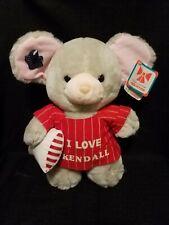 "12"" Vintage 1987 Applause Merry Mouse Christmas Stuffed Animal I Love Kendall"