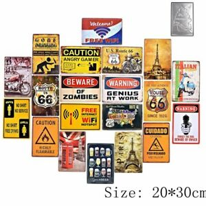 Warning & Caution Plate Vintage Metal Tin Signs Retro Decor Art Wall Poster