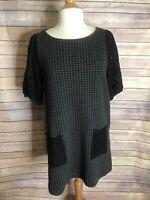 Anthropologie Postmark Dress M Black Gray Knit Sheath Houndstooth Pockets Lace