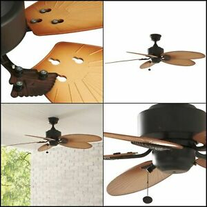 Indoor Outdoor Ceiling Fan 52 in. 3-Speed Palm Leaves Aged Bronze Quick Install