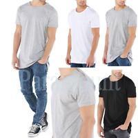 Brave Soul Longline Shoulder Zip Detail T-Shirt  mens Size