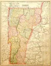 Beautiful Original 1899 Vermont Large Color Map/11x14