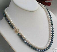 2rows 7-8mm black white freshwater Cultivation pearl necklace New jewelry AAA+