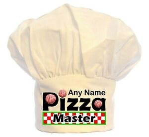 PERSONALISED PIZZA MASTER CHEFS HAT PRINT 100% POLYESTER  BBQ BIRTHDAY CHRISTMAS