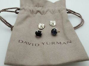 David Yurman Chatelaine Earrings Sterling with Black Orchid Studs Classic