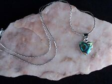Pāua Abalone Shell 12mm Heart Pendant,925 Sterling Silver Chain Necklace.