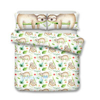 Sloth Single/Double/Queen/King Size Bed Quilt/Doona/Duvet Cover Set Pillowcase