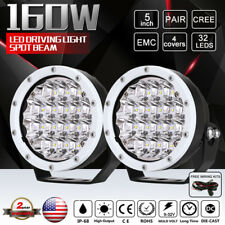 Cree 5INCH 160W LED Driving Spot Lights 2PCS White Round 12V 24V Various Vehicle