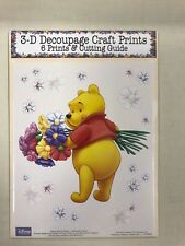 'Winnie The Pooh and Flowers' Set of 6 Prints and Cutting Guide for Decoupage