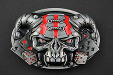 3D DARK JESTER SKULL OVAL BELT BUCKLE METAL DICE PLAYING CARDS GOTHIC RED GREY