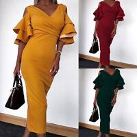 Women's Deep V Ruffle Sleeve Bodycon Midi Dress Cold Shoulder Party Prom Dress