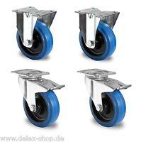 1 Satz Blue Wheels Lenkrollen 100mm Transportrollen NEU